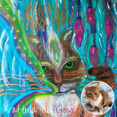 Kraftbild Tierportrait Energiebild Katze Portrait auf Leinwand Auftragsarbeit Unikat