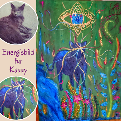 Energiebild Kraftbild Katze Tierportrait Tier malen lassen auf Leinwand